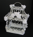 Bird Cage (Antiqued White) Decorated