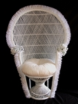 White Wicker Fanback Chair